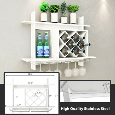 Wall Mounted Wine Rack Glass Champagne 6-Bottles Storage Display Holder