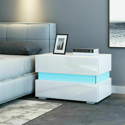 High Gloss Chest of Drawers Bedside Table with RGB Light