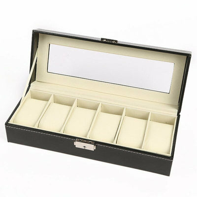 6 Grids Leather Watch Box