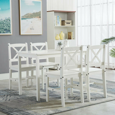 Classic Solid Wooden Dining Table and 4 Chairs