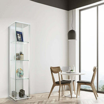 Lockable Narrow Glass Display Cabinet