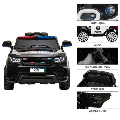 Kids Electric Ride on 12V Police SUV Car with Parental Remote Control Flashing