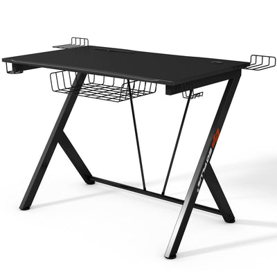 K-Shaped Gaming Desk with Top Shelf