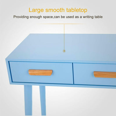 Kids Blue Dressing Table with 2 Drawers & Stool Set