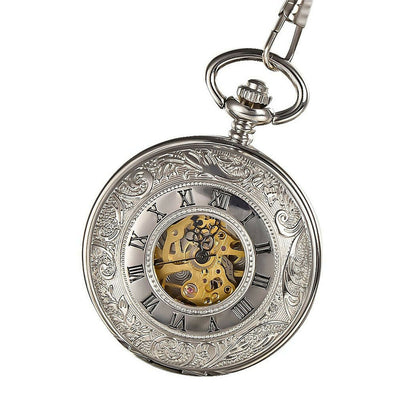 Engraved Sliver Skeleton Pocket Watch