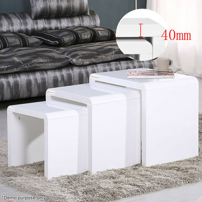 Modern High Gloss White Nest of 3 Coffee Table