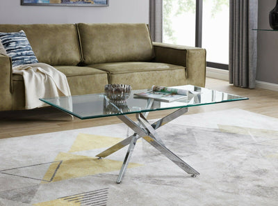 LEO Modern Chrome Glass Coffee Table