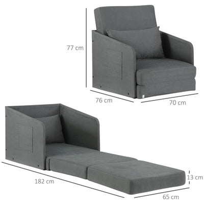 LUX Single Sofa Bed Armchair w/ Pillow