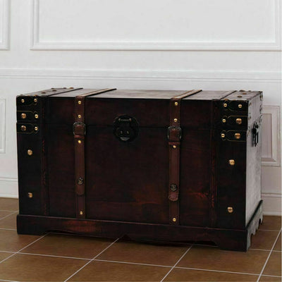 Vintage Wooden Treasure Chest Storage Trunk