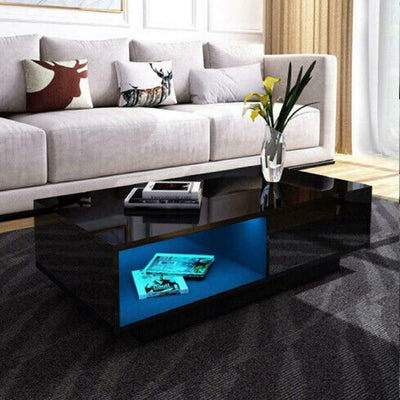 High Gloss Coffee Table With Storage Drawers with RGB LED