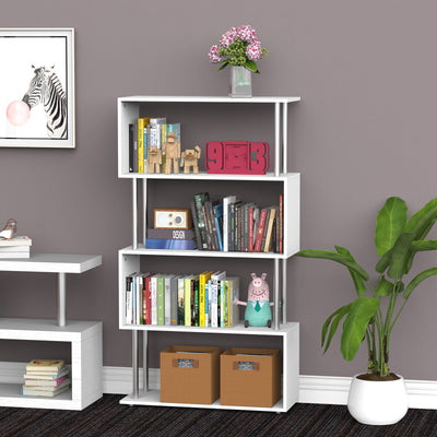 Wooden S Shape White Bookshelf