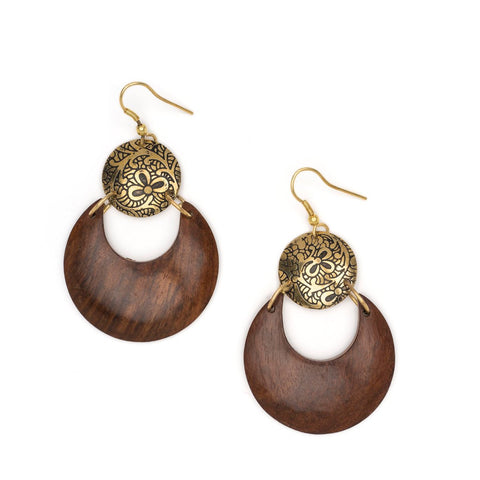 Angelco Accessories Wooden Lunar Earrings