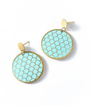 Angelco Accessories Scallop teal coin drop earring