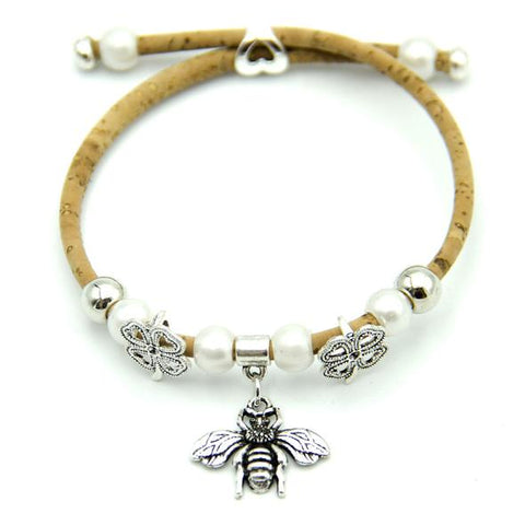 Angelco Accessories bumble bee and clover cork bracelet