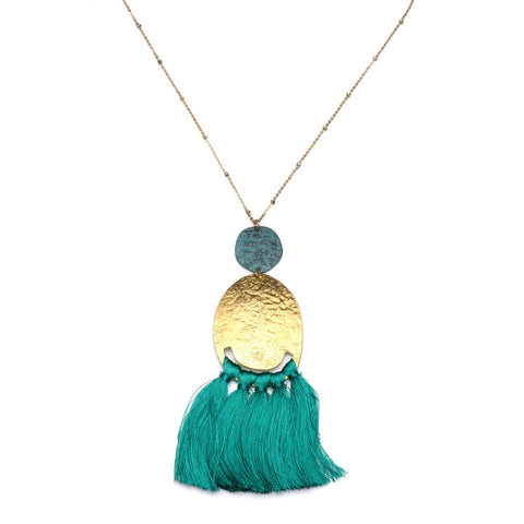 Angelco Accessories gold and teal tassel necklace