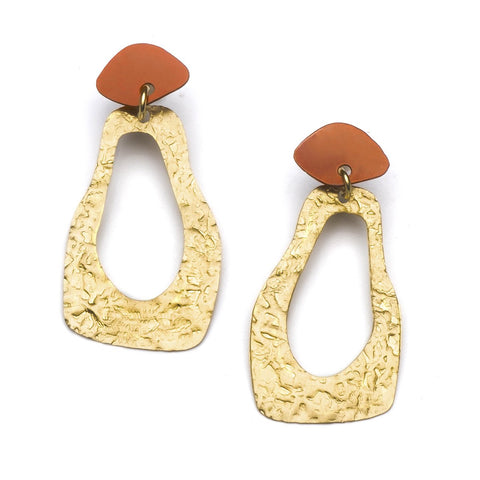 Angelco Accessories gold and red footprint earring