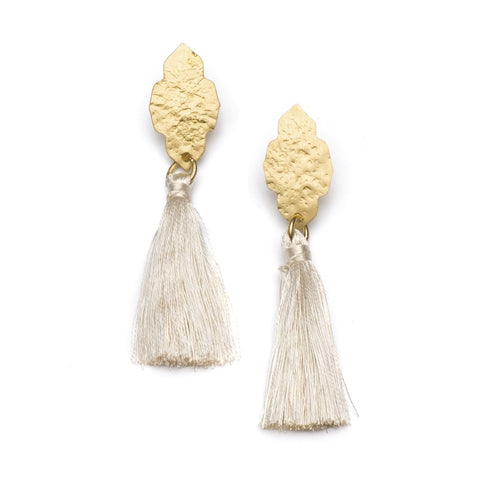 Angelco Accessories gold ashram earrings with white tassel