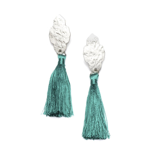 Angelco Accessories silver ashram earrings with teal tassel