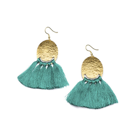 Angelco Accessories gold coin and teal tassel earrings