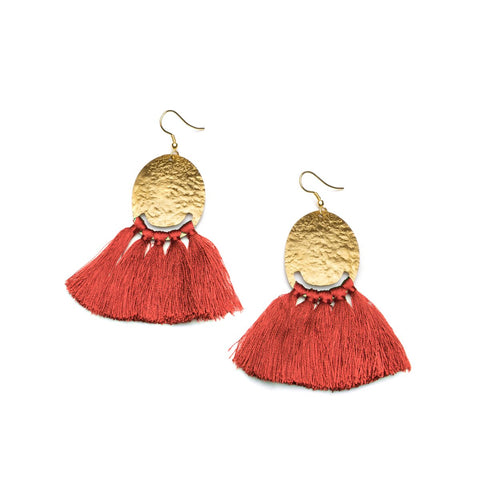 Angelco Accessories gold coin and red tassel earrings
