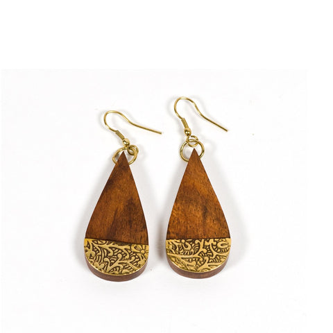 Angelco Accessories Rosewood & brass teardrop earrings
