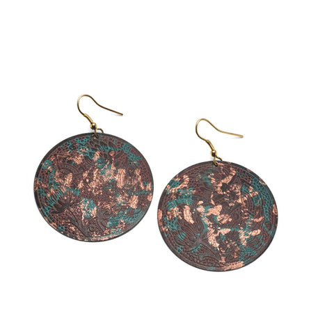 Angelco Accessories Floral patina shield earrings