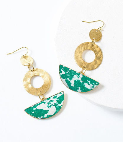 Angelco Accessories Emerald Crescent Earrings