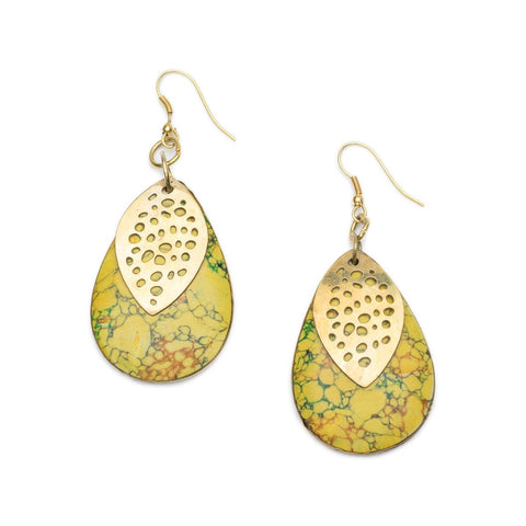 Angelco Accessories yellow stone medallion earrings