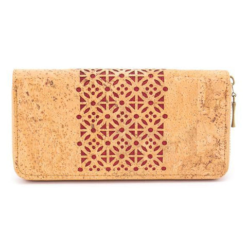 Angelco Accessories laser cut cork metallic red wallet