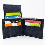 Navy cork slimline wallet