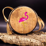 Angelco Accessories Round Cork Handbag with Flamingo