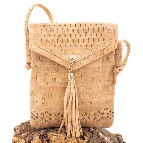 Angelco Accessories flower cork crossbody pouch