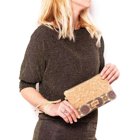 Angelco Accessories Small Patterned Cork Clutch