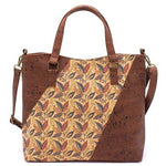 Pattern panel cork handbag - 2 colours available