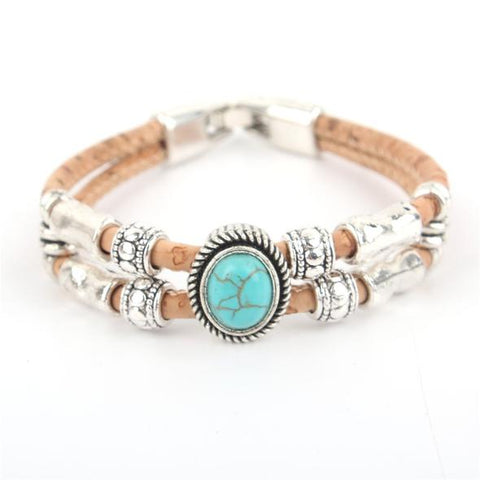 Angelco Accessories turquoise two strand cork bracelet