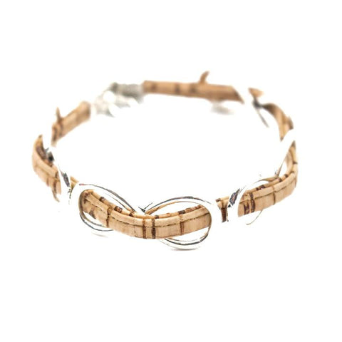 Angelco Accessories Cork and Silver Infinity Bracelet