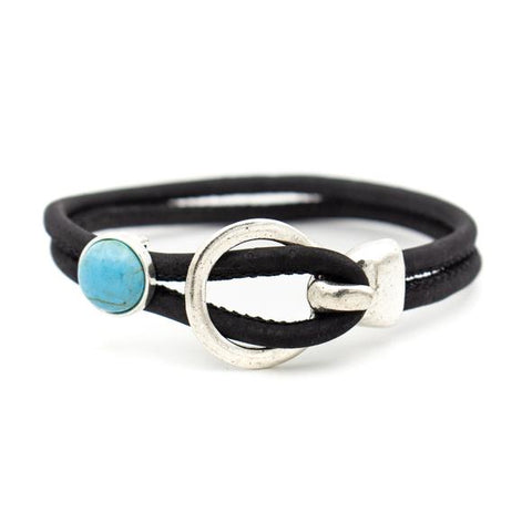 Angelco Accessories turquoise and buckle cork bracelet