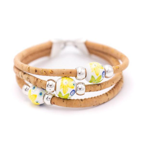 Angelco Accessories triple strand cork bracelet with ceramic beads -yellow