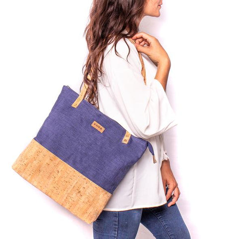 Angelco Accessories Cork and Fabric Tote Bag