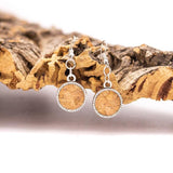 Angelco Accessories natural cork disk drop earrings
