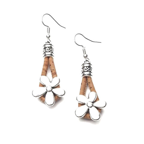 Angelco Accessories Silver Flower Cork Drop Earrings