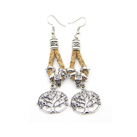 Angelco Accessories Tree of Life Braided Cork Drop Earrings