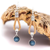 Angelco Accessories Blue ceramic tile pattern cork drop earrings