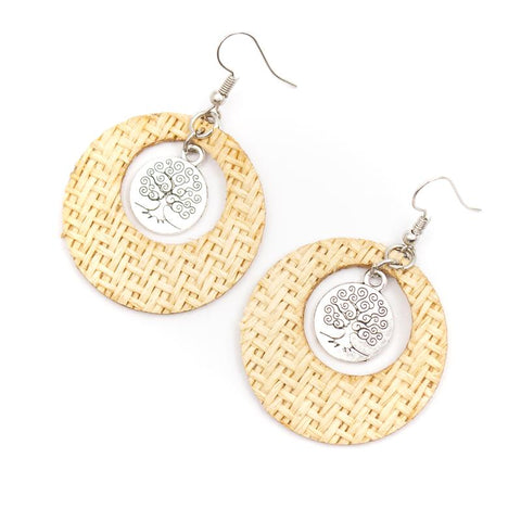 Angelco Accessories Round Grass Weave Tree of Life Drop Earrings