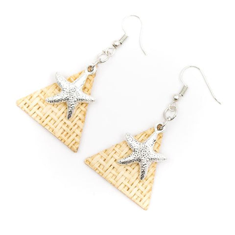 Angelco Accessories Grass weave triangle starfish earrings