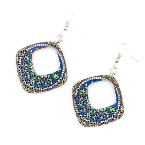 Angelco Accessories Wood printed diamond shaped drop earrings - blue and green