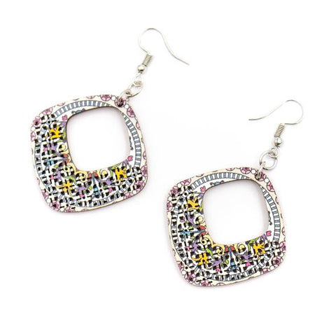 Angelco Accessories wood printed diamond shaped drop earrings - white with colour