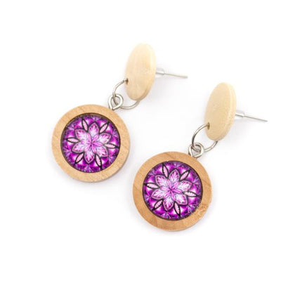 Angelco Accessories wood button drop earrings - purple