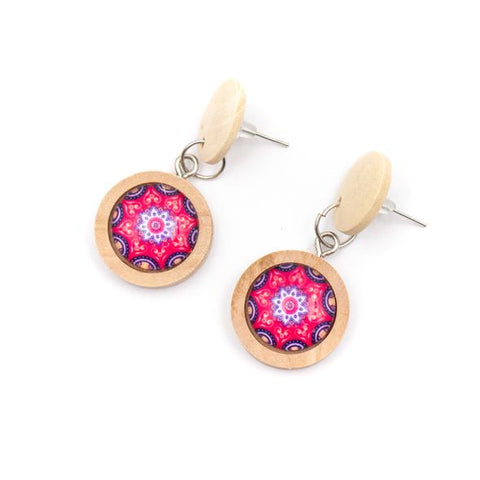 Angelco Accessories wood button drop earrings - pink