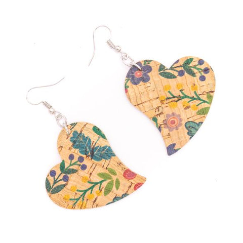 Angelco Accessories flower print cork heart earrings - E